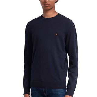 Farah True Navy Mullen Cotton Crew Neck Jumper