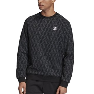 adidas Originals Black Allover Print Crew Sweatshirt