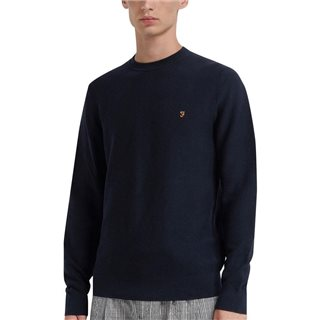 Farah True Navy Delta Cotton Textured Crew Neck Jumper