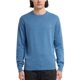 Farah Dusky Blue Mullen Cotton Crew Neck Jumper