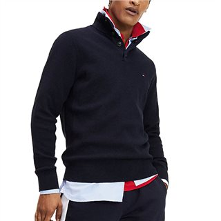 Tommy Hilfiger Navy Buttoned High Neck Jumper