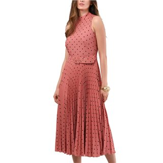 Closet London Rose Polka Dot Pleated Midi Dress
