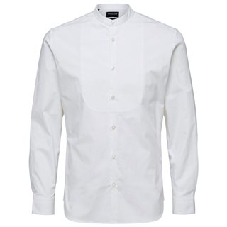 Selected Homme Bright White Mandarin Collar Button-Down Shirt