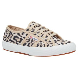 Superga Beige 2750 Jaguar Print Trainers
