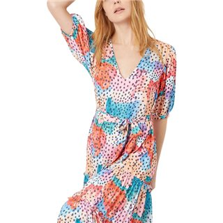 Traffic People Multi Felicitiations V-Neck Printed Maxi Dress