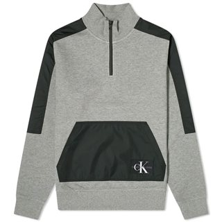 Calvin Klein Mid Grey Nylon Mix Half Zip Sweater