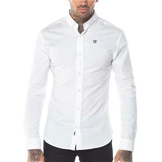 11 Degrees White Long Sleeve Contrast Logo Shirt