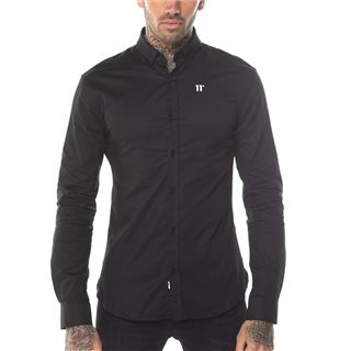 11 Degrees Black Long Sleeve Contrast Logo Shirt