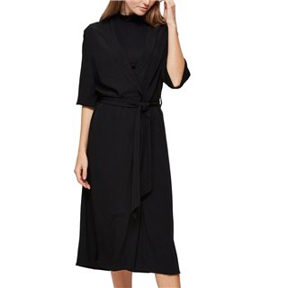 Selected Femme Black Waist Tie Midi Dress