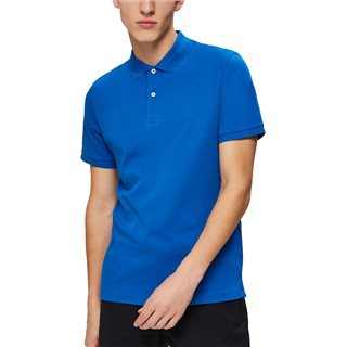 Selected Homme Blue Organic Cotton Polo Shirt