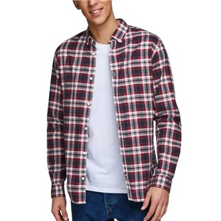 Jack & Jones Essentials Red Dahlia Button-Down Striped Shirt