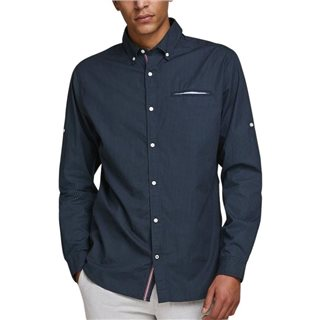 Jack & Jones Essentials Navy Blazer Button-Down Linen Shirt