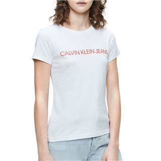 Calvin Klein Bright White/Fiery Red Slim Organic Cotton T-Shirt