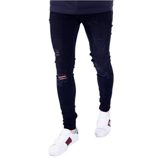 11 Degrees Jet Black Wash Distressed Skinny Fit Jeans
