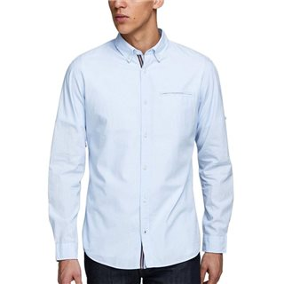 Jack & Jones Essentials Cashmere Blue Button-Down Linen Shirt