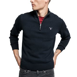 Gant Evening Blue Casual Cotton Half-Zip Sweater