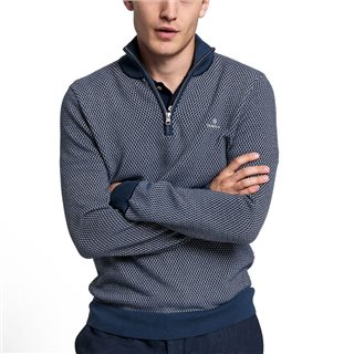 Gant Insignia Blue Textured Half-Zip Sweater