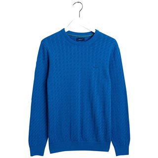Gant Bright Cobalt Flat Cable Crew Sweater
