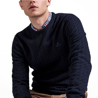 Gant Evening Blue Flat Cable Crew Sweater