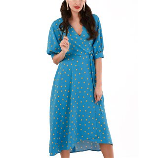 Closet London Blue Puff Sleeve Wrap Dress
