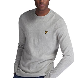 Lyle & Scott Light Grey Cotton Merino Crew Jumper