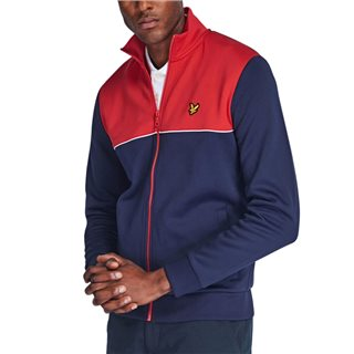 Lyle & Scott Gala Red/Navy Yoke Stripe Funnel Neck Zipped Sweatshirt