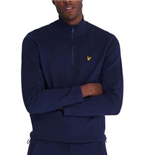 Lyle & Scott Navy 1/4 Zip Pique Sweater