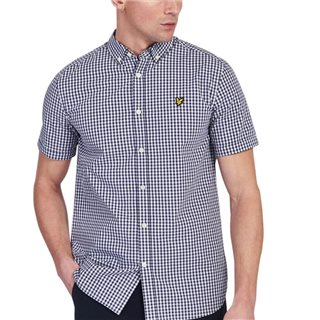 Lyle & Scott Navy/White Short Sleeve Gingham Shirt
