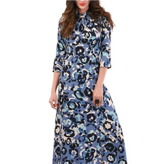 Closet London Blue Printed A-Line Midi Dress
