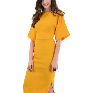Closet London Yellow Kimono Side Slit Midi Dress