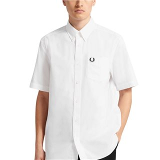 Fred Perry White/Black Short Sleeve Oxford Shirt