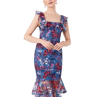 Paperdolls Blue Floral Print Lace Pephem Midi Dress