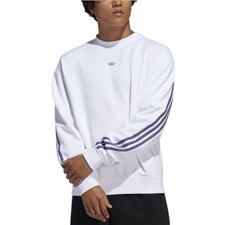 adidas Originals White/Tech Purple 3-Stripes Wrap Crew Sweater