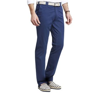 Meyer Blue Oslo Pima Cotton Satin Chinos