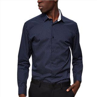 Selected Homme Mood Indigo Mark Polka Dot Slim Fit Shirt