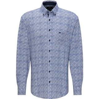 Fynch Hatton Navy Blue Long Sleeve Dot Print Shirt