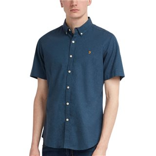 Farah Teal Steen Short Sleeve Slim Fit Shirt