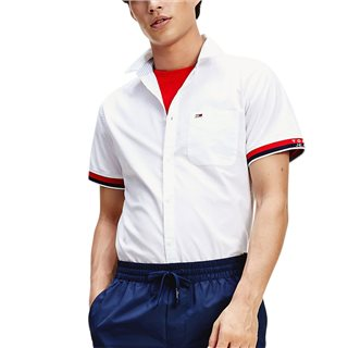 Tommy Jeans White Signature Cuff Short Sleeve Shirt