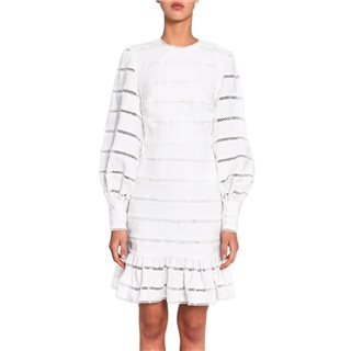 True Decadence White Stripe Balloon Sleeve Mini Dress