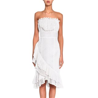True Decadence White Broderie Strapless Wrap Midi Dress