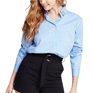 Guess Light Blue Striped Embellished Collar Shirt
