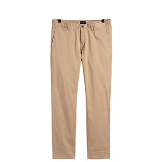 Gant Dark Khaki Satin Slim Chinos