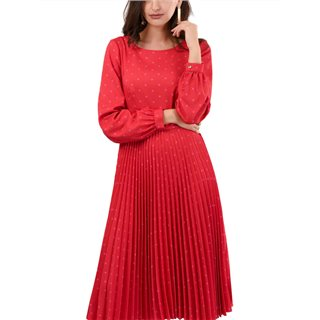 Closet London Red Gold Pleated Dress