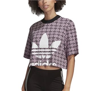 adidas Originals Berry/Black Trefoil Cropped T-Shirt