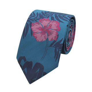 LLoyd Aintree Smith Blue Tropical Floral Tie