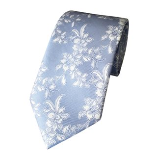 LLoyd Aintree Smith Pale Blue Floral Poly Tie