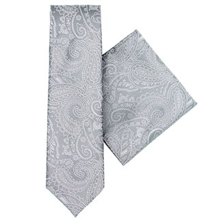 LLoyd Aintree Smith Charcoal Paisley Tie & Hankie Set