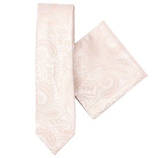 LLoyd Aintree Smith Champagne Paisley Tie & Hankie Set