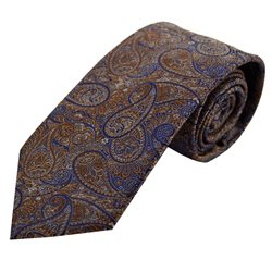 LLoyd Aintree Smith Smith Brown/Blue Paisley Polyester Tie