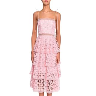True Decadence Pink Organza Cut Work Lace Tiered Midi Dress